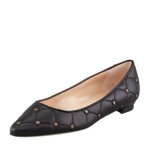 Manolo Blahnik Titto Quilted Studded Flat NWOB